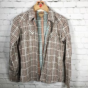 Wrangler Brown Teal Coral Gingham Check Button up